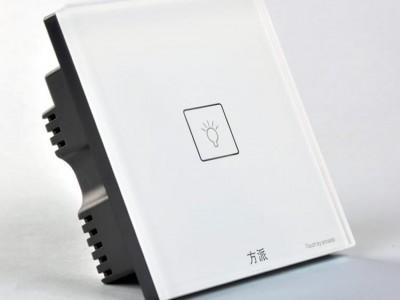 方派 智能触摸开关 可控硅系列 白色一位豪华型 3-5毫米钢化玻璃面板 负载功率3-150W